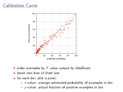 Slide: Calibration Curve 100  80 observed probability  60  40  20  0 0 20 40 60 80 100 predicted probability   order examples by F value output by AdaBoost  break into bins of xed size  for each bin, plot a point:    x-value: average estimated probability of examples in bin y -value: actual fraction of positive examples in bin