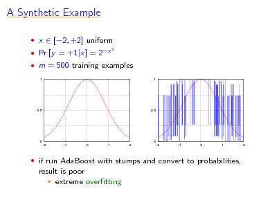 Slide: A Synthetic Example  x  [2, +2] uniform  Pr [y = +1|x] = 2x 2   m = 500 training examples 1 1  0.5  0.5  0 -2 -1 0 1 2  0 -2 -1 0 1 2   if run AdaBoost with stumps and convert to probabilities,  result is poor  extreme overtting