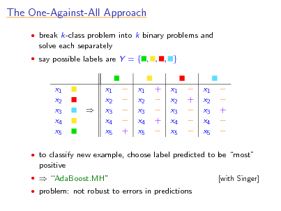 Slide: The One-Against-All Approach  break k-class problem into k binary problems and  solve each separately  say possible labels are Y = { , , , }  x1 x2 x3 x4 x5    x1 x2 x3 x4 x5      +  x1 x2 x3 x4 x5  +   +   x1 x2 x3 x4 x5   +     x1 x2 x3 x4 x5    +     to classify new example, choose label predicted to be most  positive   AdaBoost.MH  problem: not robust to errors in predictions [with Singer]