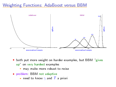 Slide: Weighting Functions: AdaBoost versus BBM AdaBoost BBM 950  weight 650 350 50  weight  30  20  unnormalized margin  s  10  300  200  unnormalized margin  s  100   both put more weight on harder examples, but BBM gives  up on very hardest examples  may make more robust to noise  problem: BBM not adaptive   need to know  and T a priori