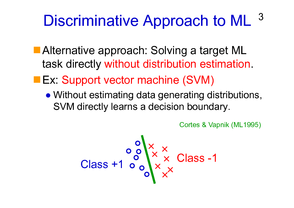 Slide: Discriminative Approach to ML Alternative approach: Solving a target ML task directly without distribution estimation. Ex: Support vector machine (SVM)  3  Without estimating data generating distributions, SVM directly learns a decision boundary. Cortes & Vapnik (ML1995)  Class +1  Class -1