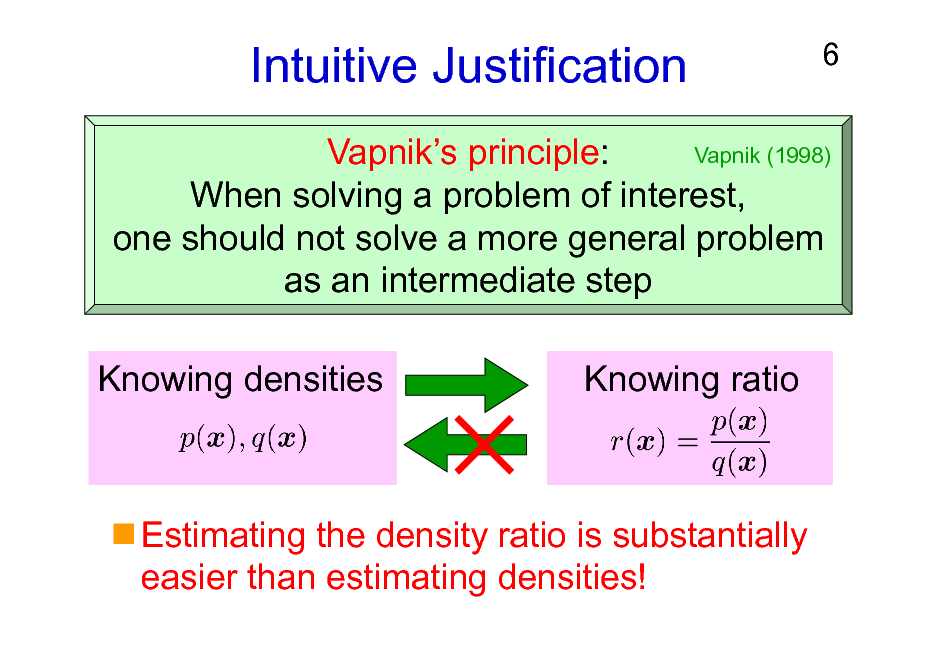 Slide: Intuitive Justification  6  Vapnik (1998) Vapniks principle: When solving a problem of interest, one should not solve a more general problem as an intermediate step  Knowing densities  Knowing ratio  Estimating the density ratio is substantially easier than estimating densities!