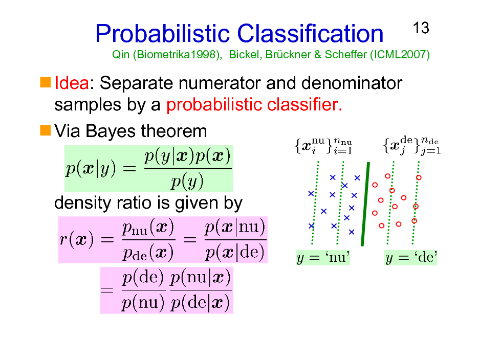 Slide: Probabilistic Classification Idea: Separate numerator and denominator samples by a probabilistic classifier. Via Bayes theorem  13  Qin (Biometrika1998), Bickel, Brckner & Scheffer (ICML2007)  density ratio is given by