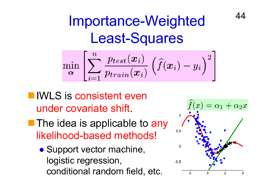 Slide: Importance-Weighted Least-Squares  44  IWLS is consistent even under covariate shift. The idea is applicable to any likelihood-based methods! Support vector machine, logistic regression, conditional random field, etc.