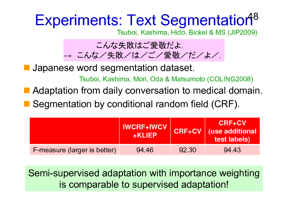 Slide: Experiments: Text Segmentation     48  Tsuboi, Kashima, Hido, Bickel & MS (JIP2009)  Japanese word segmentation dataset. Tsuboi, Kashima, Mori, Oda & Matsumoto (COLING2008)  Adaptation from daily conversation to medical domain. Segmentation by conditional random field (CRF). IWCRF+IWCV +KLIEP F-measure (larger is better) 94.46 CRF+CV 92.30 CRF+CV (use additional test labels) 94.43  Semi-supervised adaptation with importance weighting is comparable to supervised adaptation!