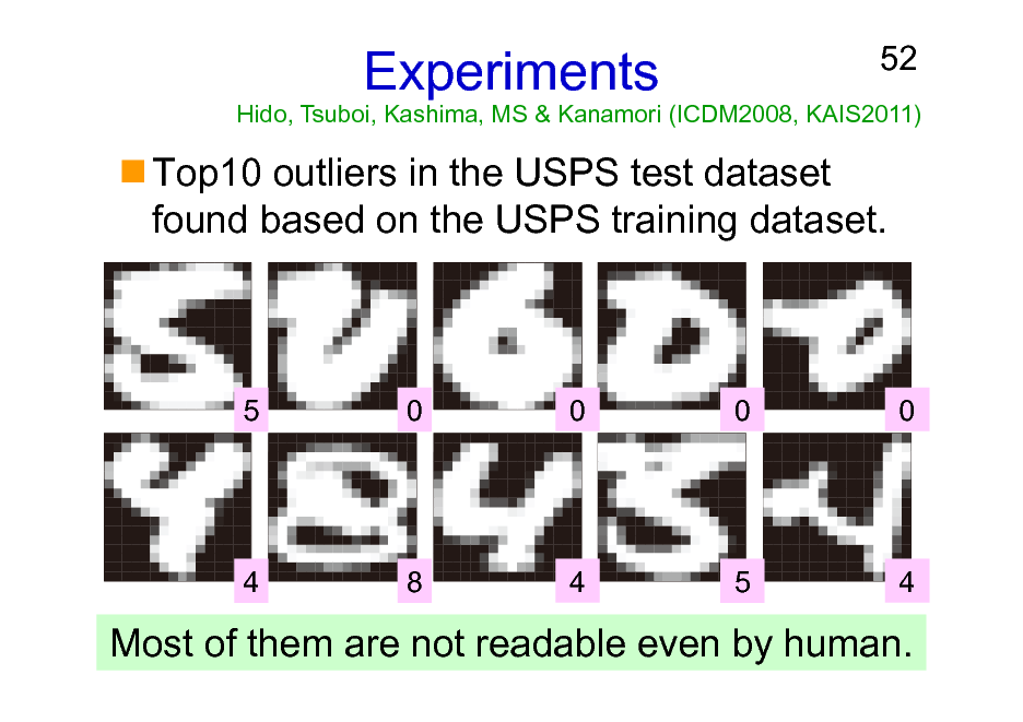 Slide: Experiments  52  Hido, Tsuboi, Kashima, MS & Kanamori (ICDM2008, KAIS2011)  Top10 outliers in the USPS test dataset found based on the USPS training dataset.  5  0  0  0  0  4  8  4  5  4  Most of them are not readable even by human.