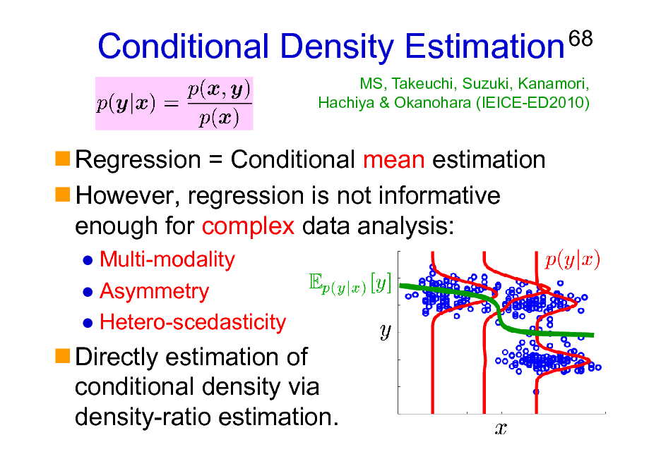 Slide: Conditional Density Estimation Regression = Conditional mean estimation However, regression is not informative enough for complex data analysis: Multi-modality Asymmetry Hetero-scedasticity  68  MS, Takeuchi, Suzuki, Kanamori, Hachiya & Okanohara (IEICE-ED2010)  Directly estimation of conditional density via density-ratio estimation.