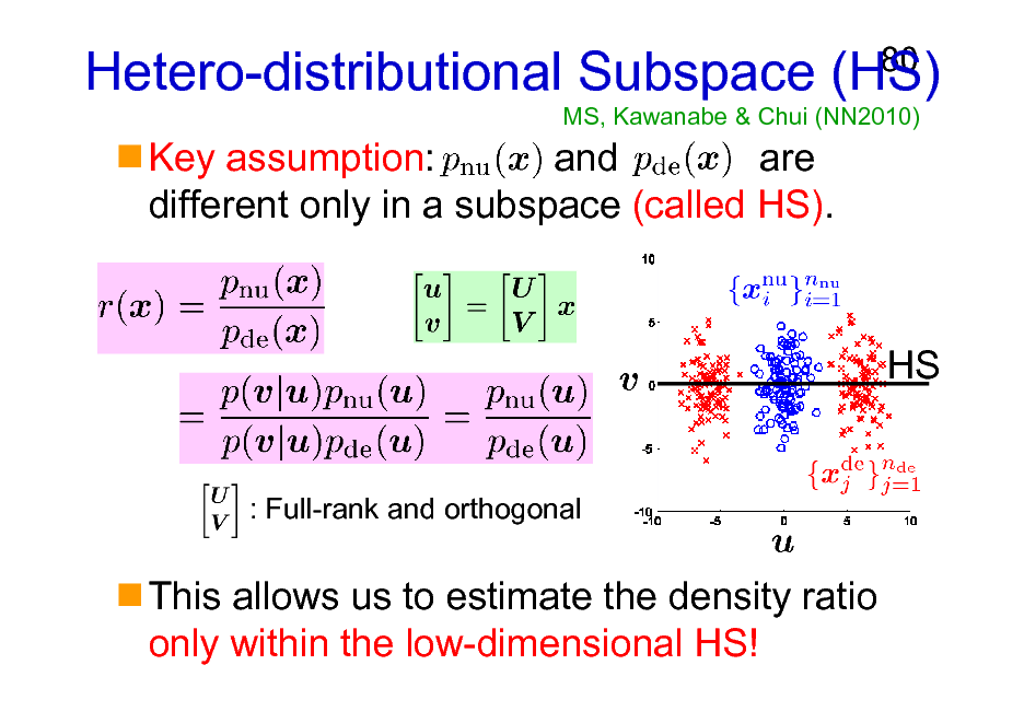 Slide: Hetero-distributional Subspace (HS) MS, Kawanabe & Chui (NN2010)  80  Key assumption: and are different only in a subspace (called HS).  HS  : Full-rank and orthogonal  This allows us to estimate the density ratio only within the low-dimensional HS!