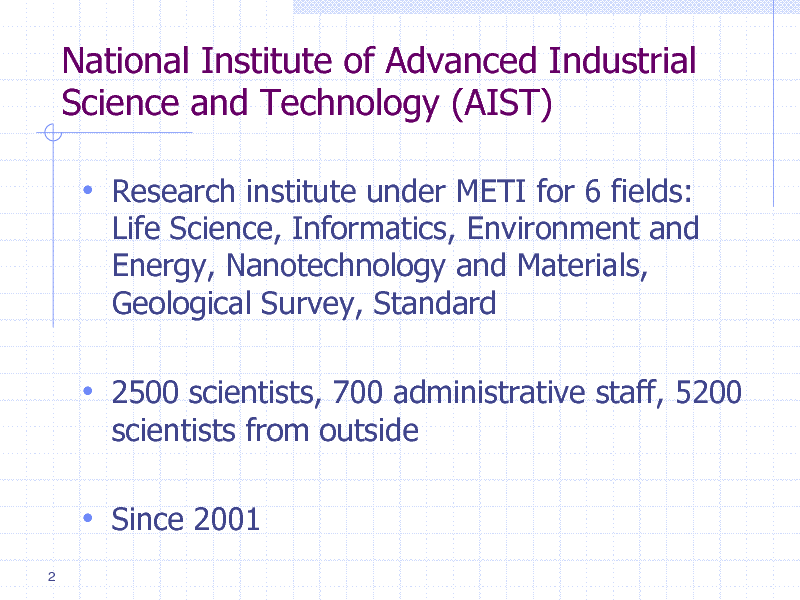 Slide: National Institute of Advanced Industrial Science and Technology (AIST)  Research institute under METI for 6 fields: Life Science, Informatics, Environment and Energy, Nanotechnology and Materials, Geological Survey, Standard   2500 scientists, 700 administrative staff, 5200 scientists from outside   Since 2001 2
