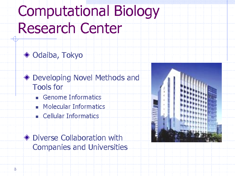 Slide: Computational Biology Research Center Odaiba, Tokyo Developing Novel Methods and Tools for     Genome Informatics Molecular Informatics Cellular Informatics  Diverse Collaboration with Companies and Universities 3