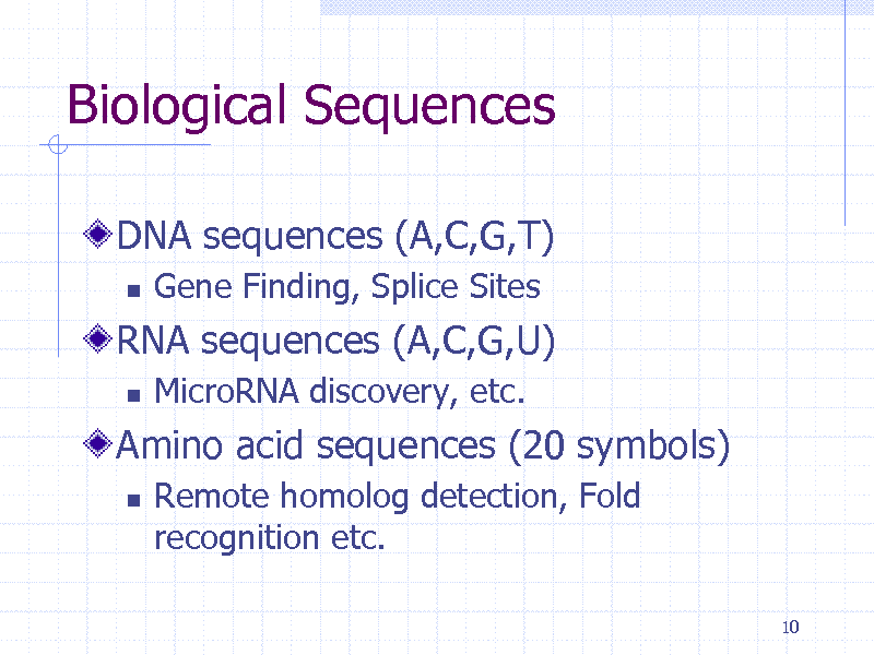 Slide: Biological Sequences DNA sequences (A,C,G,T)   Gene Finding, Splice Sites MicroRNA discovery, etc. Remote homolog detection, Fold recognition etc. 10  RNA sequences (A,C,G,U)   Amino acid sequences (20 symbols)