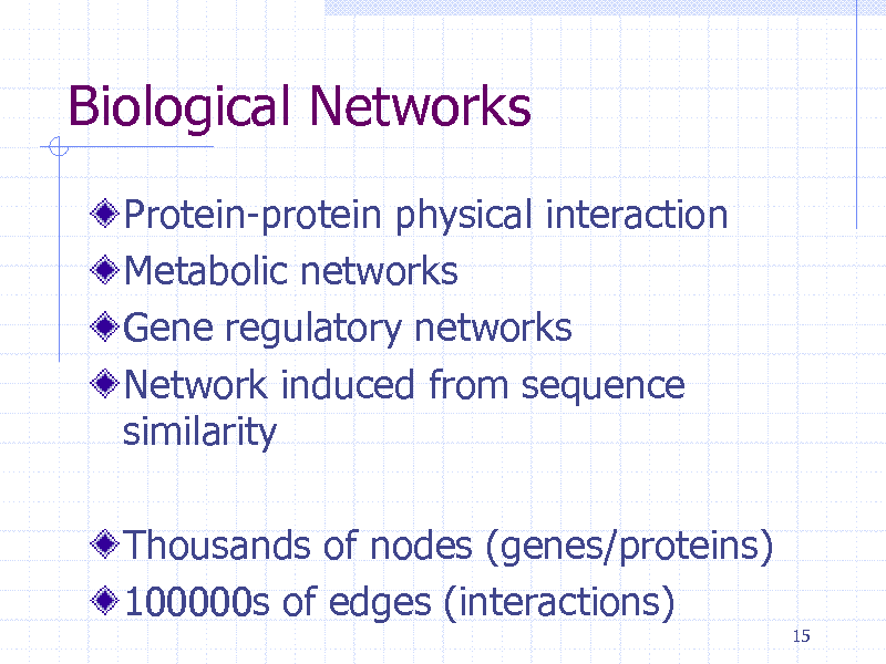 Slide: Biological Networks Protein-protein physical interaction Metabolic networks Gene regulatory networks Network induced from sequence similarity Thousands of nodes (genes/proteins) 100000s of edges (interactions) 15