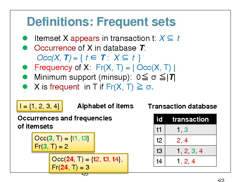 Slide: Definitions: Frequent sets  Itemset X appears in transaction t: X  t  Occurrence of X in database T: Occ(X, T) = { t  T : X  t }  Frequency of X: Fr(X, T) = | Occ(X, T) |  Minimum support (minsup): 0  |T|  X is frequent in T if Fr(X, T)  . I = {1, 2, 3, 4} Alphabet of items Transaction database id t1 t2 t3 t4 transaction 1, 3 2, 4 1, 2, 3, 4 1, 2, 4 23  Occurrences and frequencies of itemsets Occ(3, T) = {t1, t3} Fr(3, T) = 2 Occ(24, T) = {t2, t3, t4}, Fr(24, T) = 3 23