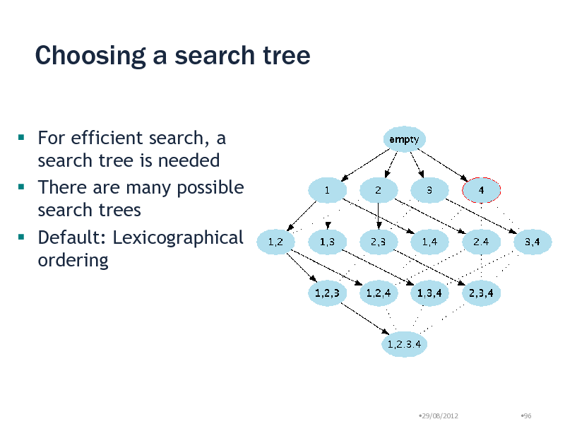 Slide: Choosing a search tree  For efficient search, a search tree is needed  There are many possible search trees  Default: Lexicographical ordering  29/08/2012  96