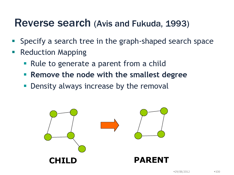Slide: Reverse search (Avis and Fukuda, 1993)  Specify a search tree in the graph-shaped search space  Reduction Mapping  Rule to generate a parent from a child  Remove the node with the smallest degree  Density always increase by the removal  CHILD  PARENT 29/08/2012 100