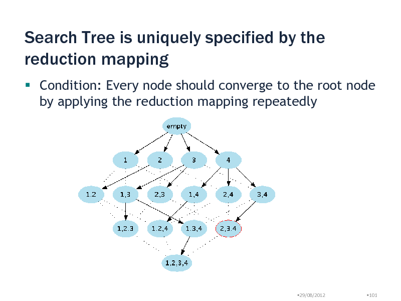 Slide: Search Tree is uniquely specified by the reduction mapping  Condition: Every node should converge to the root node by applying the reduction mapping repeatedly  29/08/2012  101