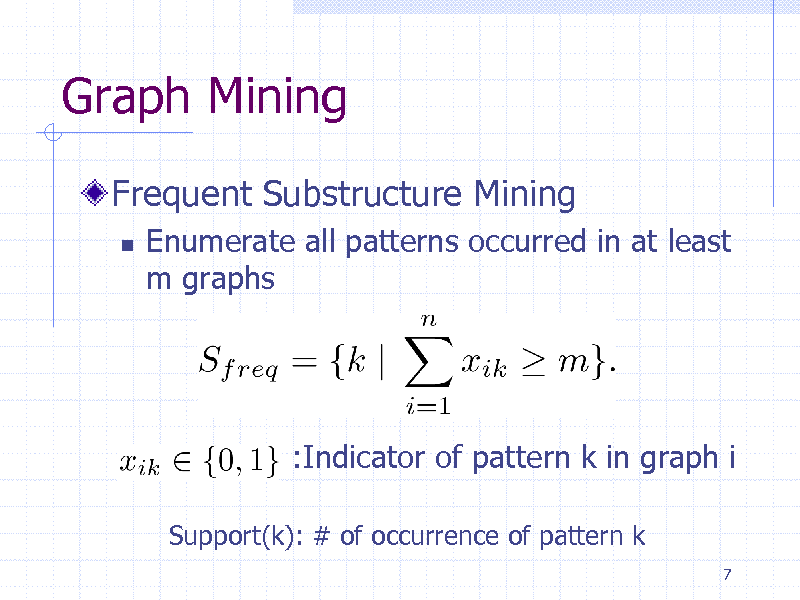 Slide: Graph Mining Frequent Substructure Mining   Enumerate all patterns occurred in at least m graphs    :Indicator of pattern k in graph i Support(k): # of occurrence of pattern k 7