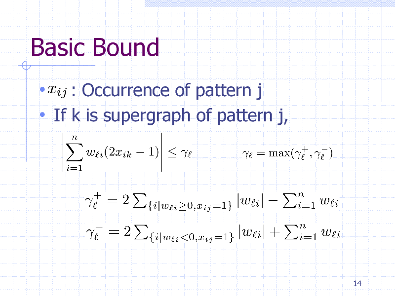 Slide: Basic Bound  xij : Occurrence of pattern j  If k is supergraph of pattern j,  14