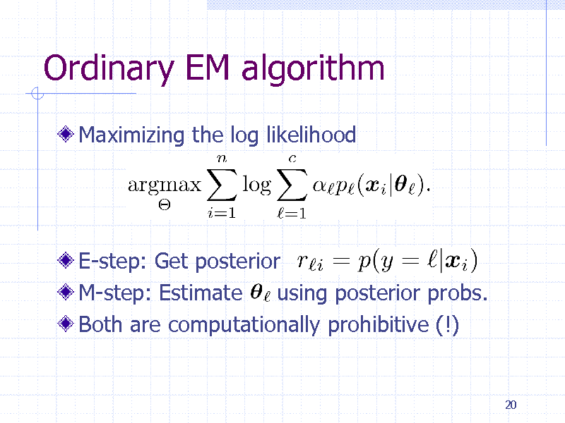 Slide: Ordinary EM algorithm Maximizing the log likelihood  E-step: Get posterior M-step: Estimate using posterior probs. Both are computationally prohibitive (!)  20
