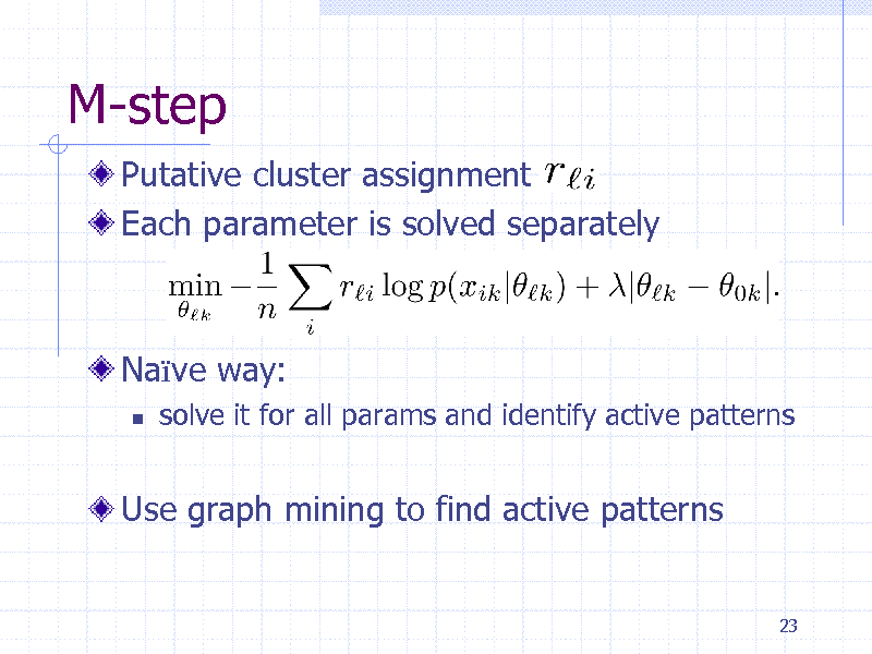 Slide: M-step Putative cluster assignment Each parameter is solved separately  Nave way:   solve it for all params and identify active patterns  Use graph mining to find active patterns  23