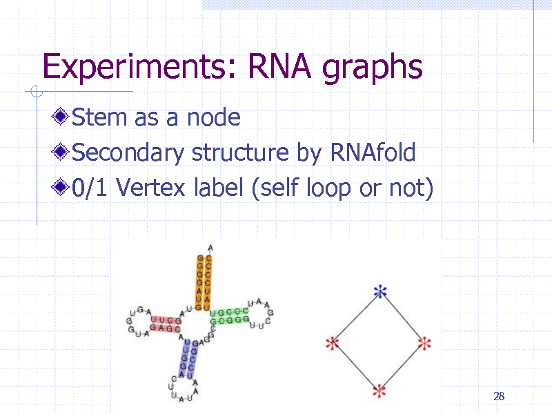 Slide: Experiments: RNA graphs Stem as a node Secondary structure by RNAfold 0/1 Vertex label (self loop or not)  28