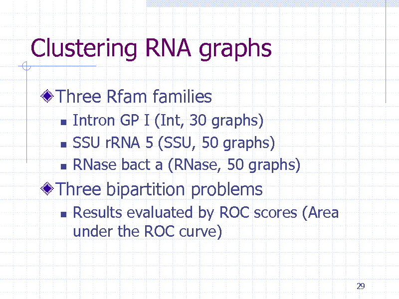 Slide: Clustering RNA graphs Three Rfam families     Intron GP I (Int, 30 graphs) SSU rRNA 5 (SSU, 50 graphs) RNase bact a (RNase, 50 graphs)  Three bipartition problems   Results evaluated by ROC scores (Area under the ROC curve)  29