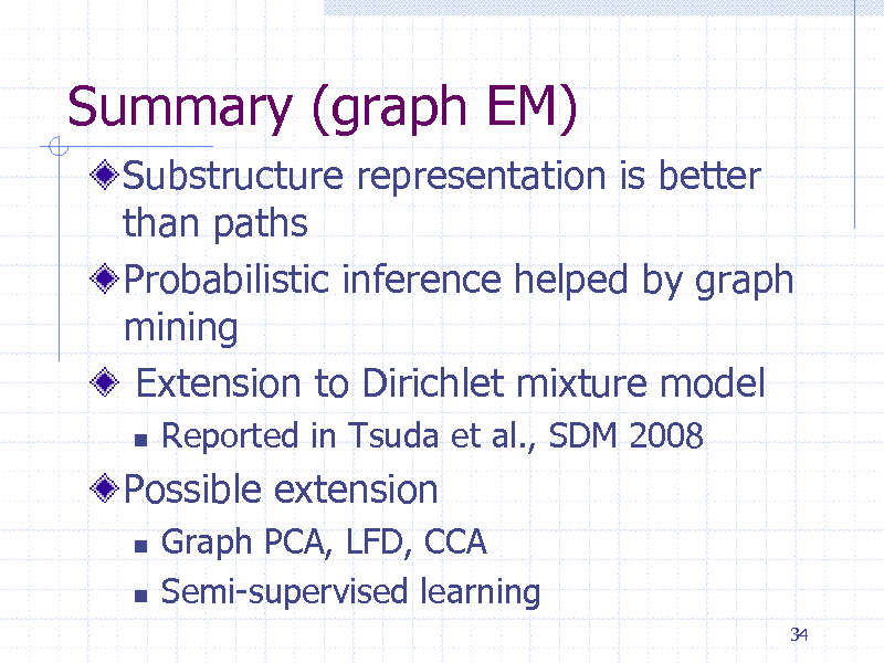 Slide: Summary (graph EM) Substructure representation is better than paths Probabilistic inference helped by graph mining Extension to Dirichlet mixture model   Reported in Tsuda et al., SDM 2008 Graph PCA, LFD, CCA Semi-supervised learning 34  Possible extension