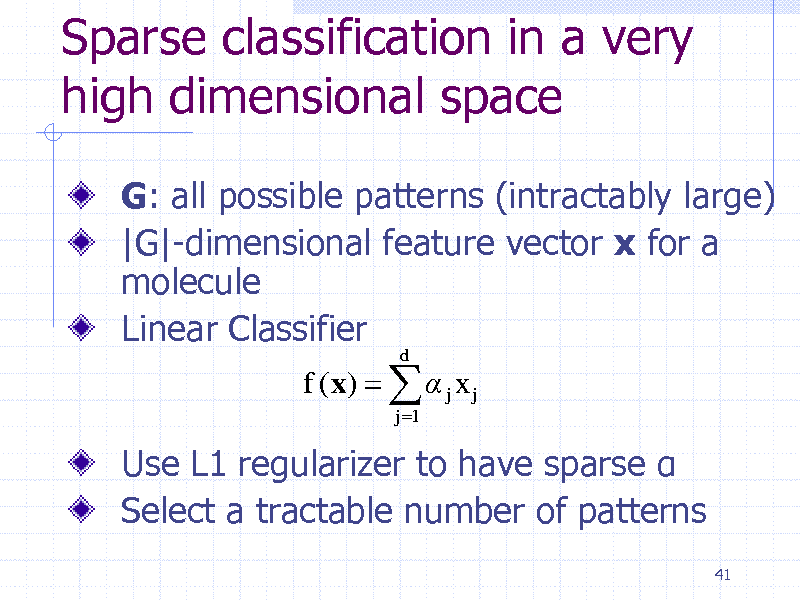 Slide: Sparse classification in a very high dimensional space G: all possible patterns (intractably large) |G|-dimensional feature vector x for a molecule Linear Classifier f (x)    j x j j 1 d  Use L1 regularizer to have sparse  Select a tractable number of patterns 41