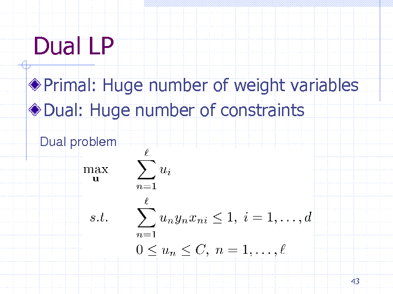 Slide: Dual LP Primal: Huge number of weight variables Dual: Huge number of constraints Dual problem  43