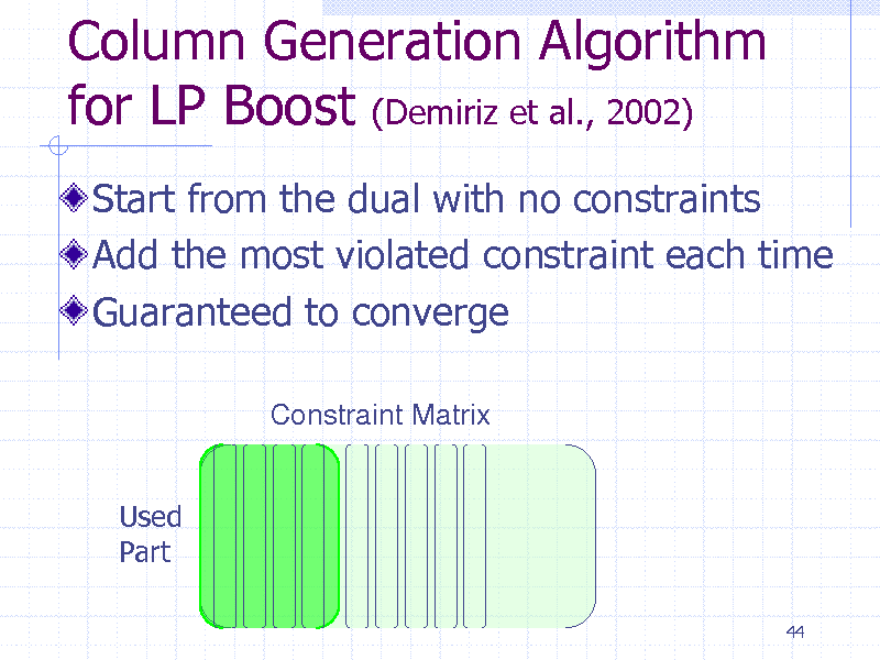 Slide: Column Generation Algorithm for LP Boost (Demiriz et al., 2002) Start from the dual with no constraints Add the most violated constraint each time Guaranteed to converge Constraint Matrix Used Part 44