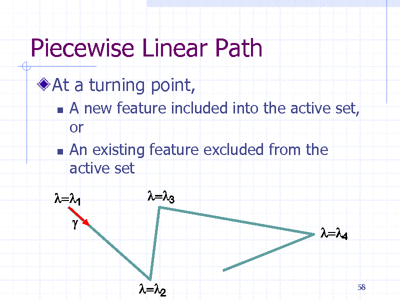Slide: Piecewise Linear Path At a turning point,     A new feature included into the active set, or An existing feature excluded from the active set  58