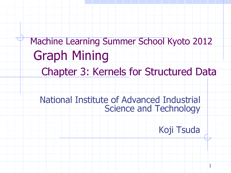Slide: Machine Learning Summer School Kyoto 2012  Graph Mining Chapter 3: Kernels for Structured Data National Institute of Advanced Industrial Science and Technology Koji Tsuda  1