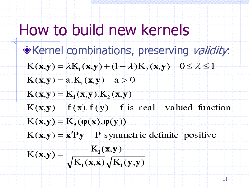 Slide: How to build new kernels Kernel combinations, preserving validity: K (x,y )  K1 ( x,y )  (1   ) K 2 (x,y ) K (x,y )  a.K1 (x,y ) a0 K (x,y )  K1 ( x,y ).K 2 ( x,y ) K (x,y )  f ( x). f ( y ) f is real  valued function K (x,y )  K 3 (( x) ,(y )) K (x,y )  xPy P symmetric definite positive K (x,y )  K1 ( x,y ) K1 ( x,x) K1 (y,y ) 11  0   1
