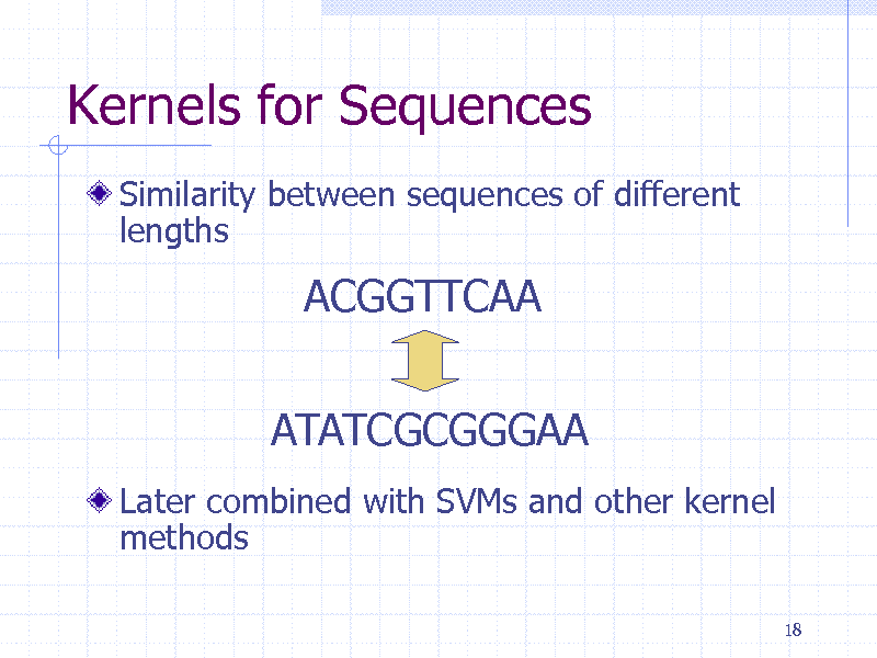 Slide: Kernels for Sequences Similarity between sequences of different lengths  ACGGTTCAA ATATCGCGGGAA Later combined with SVMs and other kernel methods 18