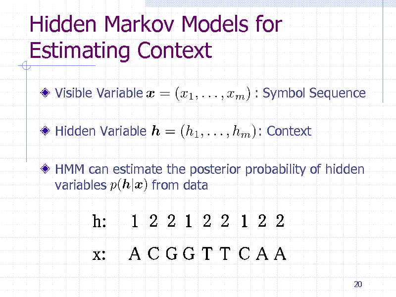 Slide: Hidden Markov Models for Estimating Context Visible Variable Hidden Variable  : Symbol Sequence : Context  HMM can estimate the posterior probability of hidden variables from data  20