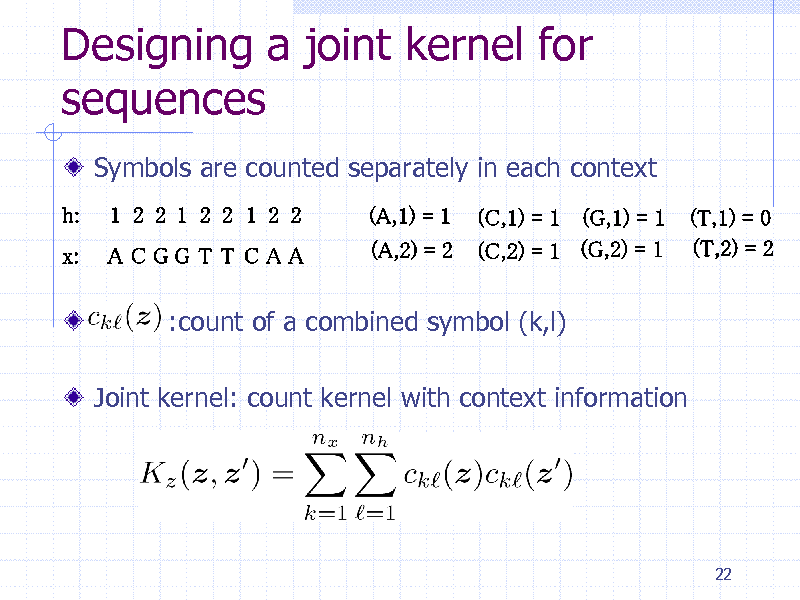 Slide: Designing a joint kernel for sequences Symbols are counted separately in each context  :count of a combined symbol (k,l) Joint kernel: count kernel with context information  22