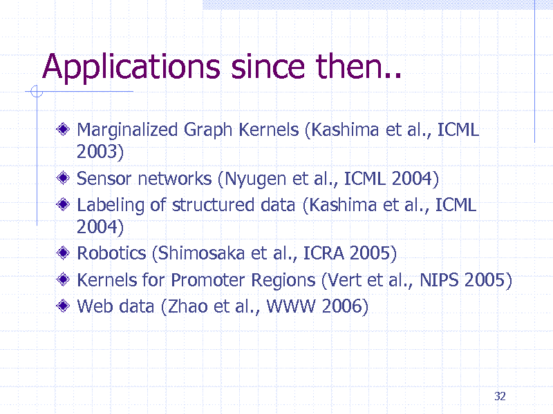 Slide: Applications since then.. Marginalized Graph Kernels (Kashima et al., ICML 2003) Sensor networks (Nyugen et al., ICML 2004) Labeling of structured data (Kashima et al., ICML 2004) Robotics (Shimosaka et al., ICRA 2005) Kernels for Promoter Regions (Vert et al., NIPS 2005) Web data (Zhao et al., WWW 2006)  32