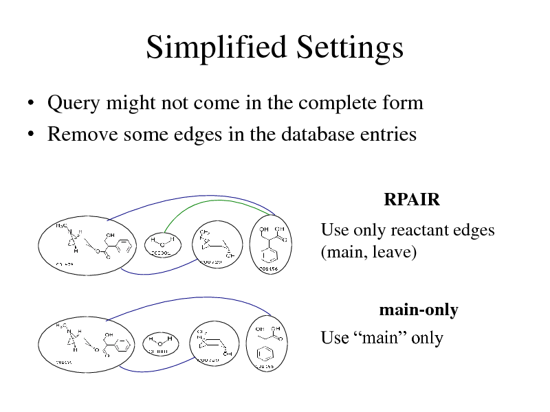 Slide: Simplified Settings  Query might not come in the complete form  Remove some edges in the database entries RPAIR  Use only reactant edges (main, leave) main-only Use main only