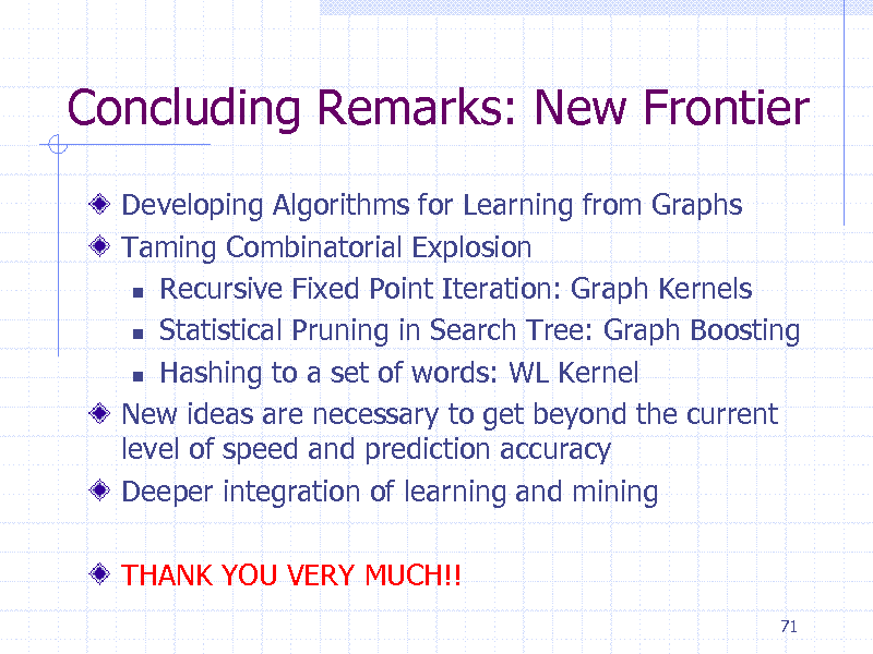Slide: Concluding Remarks: New Frontier Developing Algorithms for Learning from Graphs Taming Combinatorial Explosion  Recursive Fixed Point Iteration: Graph Kernels  Statistical Pruning in Search Tree: Graph Boosting  Hashing to a set of words: WL Kernel New ideas are necessary to get beyond the current level of speed and prediction accuracy Deeper integration of learning and mining THANK YOU VERY MUCH!! 71