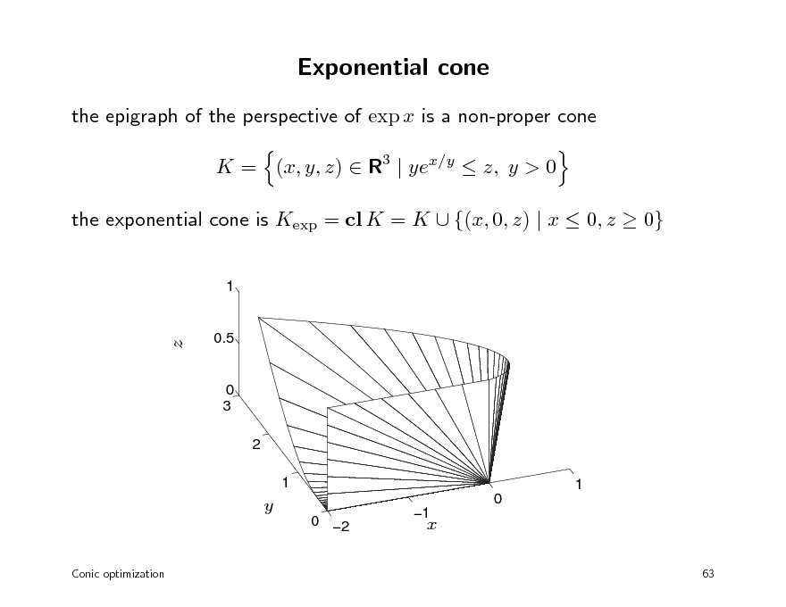 Slide: Exponential cone the epigraph of the perspective of exp x is a non-proper cone K = (x, y, z)  R3 | yex/y  z, y > 0 the exponential cone is Kexp = cl K = K  {(x, 0, z) | x  0, z  0} 1  z  0.5  0 3 2 1 1 0 0 2 Conic optimization  y  1  x 63