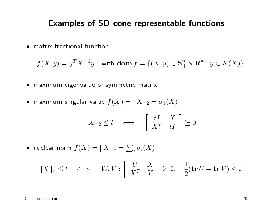 Slide: Examples of SD cone representable functions  matrix-fractional function f (X, y) = y T X 1y with dom f = {(X, y)  Sn  Rn | y  R(X)} +   maximum eigenvalue of symmetric matrix  maximum singular value f (X) = X X 2 2  = 1(X) tI XT X tI 0  t    =   nuclear norm f (X) = X X   i i (X)  t    U, V :  U XT  X V  0,  1 (tr U + tr V )  t 2  Conic optimization  70