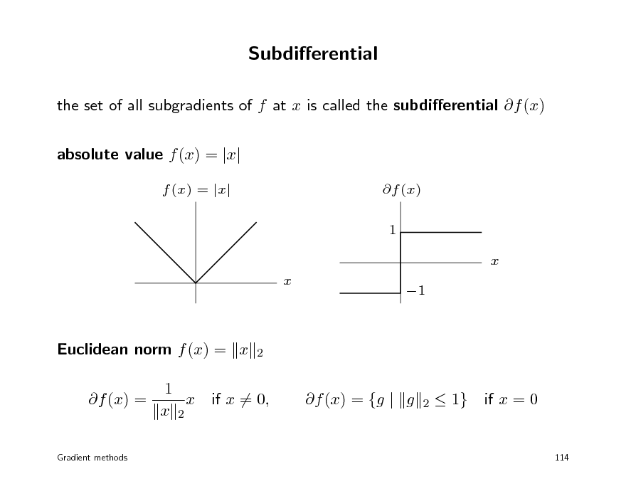 Slide: Subdierential the set of all subgradients of f at x is called the subdierential f (x) absolute value f (x) = |x| f (x) = |x| f (x) 1 x x 1  Euclidean norm f (x) = x f (x) = 1 x x 2  2  if x = 0,  f (x) = {g | g  2   1}  if x = 0  Gradient methods  114