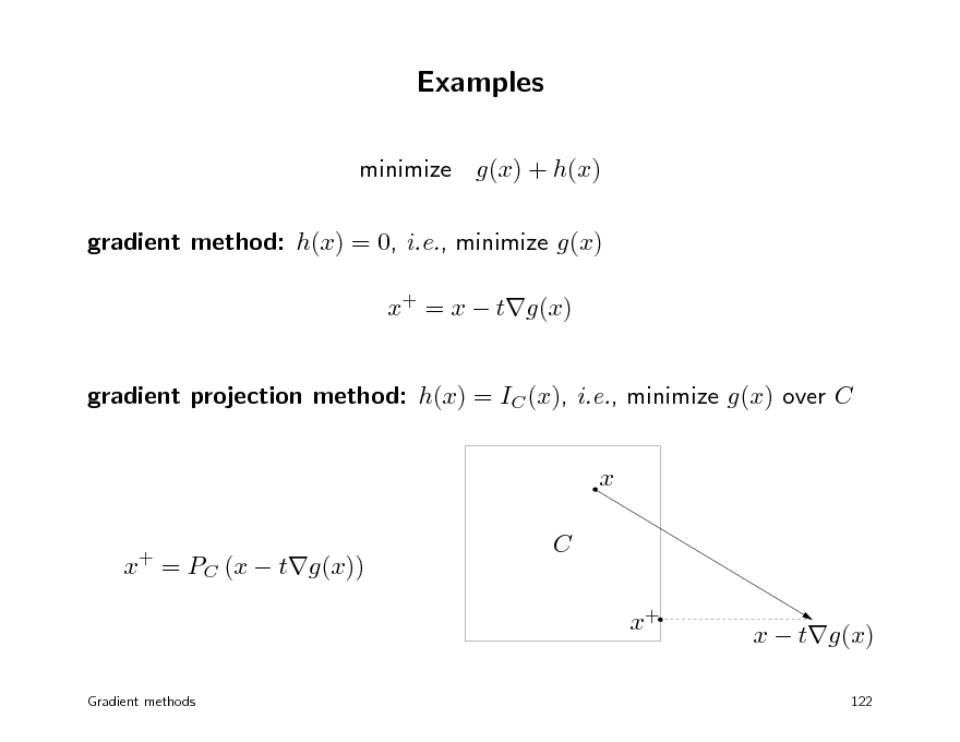 Slide: Examples minimize g(x) + h(x) gradient method: h(x) = 0, i.e., minimize g(x) x+ = x  tg(x) gradient projection method: h(x) = IC (x), i.e., minimize g(x) over C x x = PC (x  tg(x)) +  C x+  x  tg(x) 122  Gradient methods