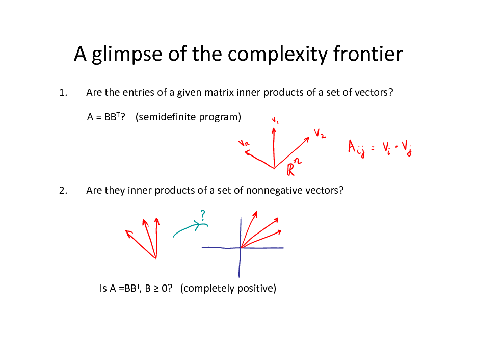 Slide: A glimpse of the complexity frontier 1. Are the entries of a given matrix inner products of a set of vectors? A = BBT? (semidefinite program)  2.  Are they inner products of a set of nonnegative vectors?  Is A =BBT, B  0? (completely positive)