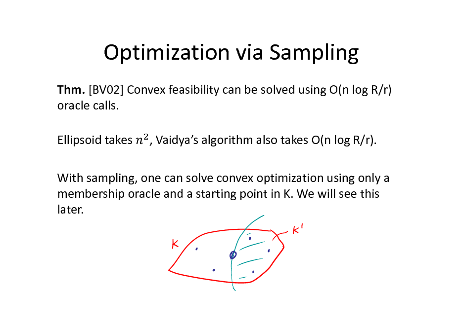 Slide: Optimization via Sampling Thm. [BV02] Convex feasibility can be solved using O(n log R/r) oracle calls. Ellipsoid takes , Vaidyas algorithm also takes O(n log R/r).  With sampling, one can solve convex optimization using only a membership oracle and a starting point in K. We will see this later.