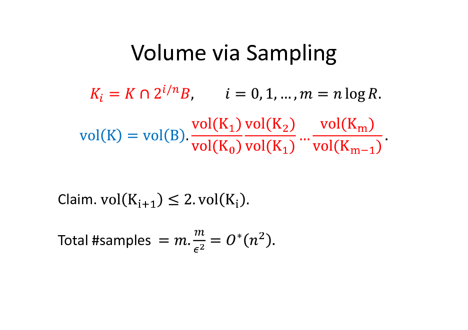 Slide: Volume via Sampling /  Claim. Total #samples