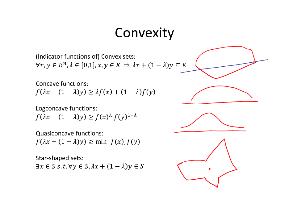 Slide: Convexity (Indicator functions of) Convex sets:  ,  ,  0,1 , ,  	  	 + 1  Concave functions: + 1  Logconcave functions: + 1  Quasiconcave functions: + 1  min 	 Star-shaped sets:   	 . .  , + 1 	 ,  		  + 1