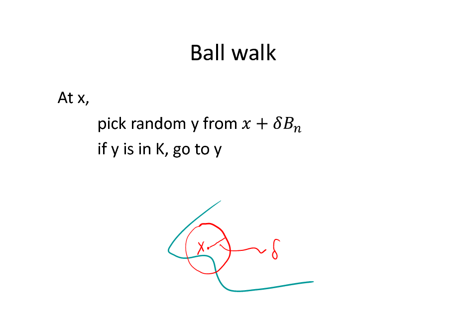 Slide: Ball walk At x, pick random y from if y is in K, go to y