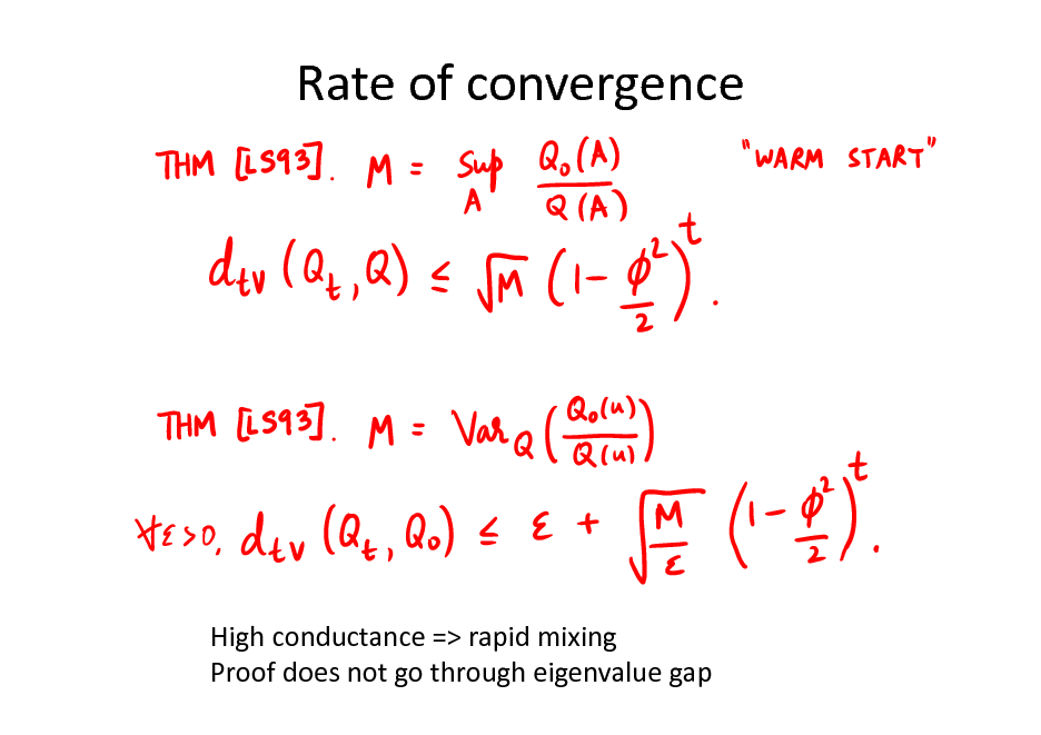 Slide: Rate of convergence  High conductance => rapid mixing Proof does not go through eigenvalue gap