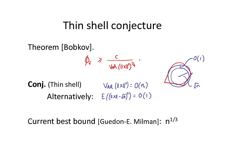 Slide: Thin shell conjecture Theorem [Bobkov].  Conj. (Thin shell) Alternatively: Current best bound [Guedon-E. Milman]: n1/3